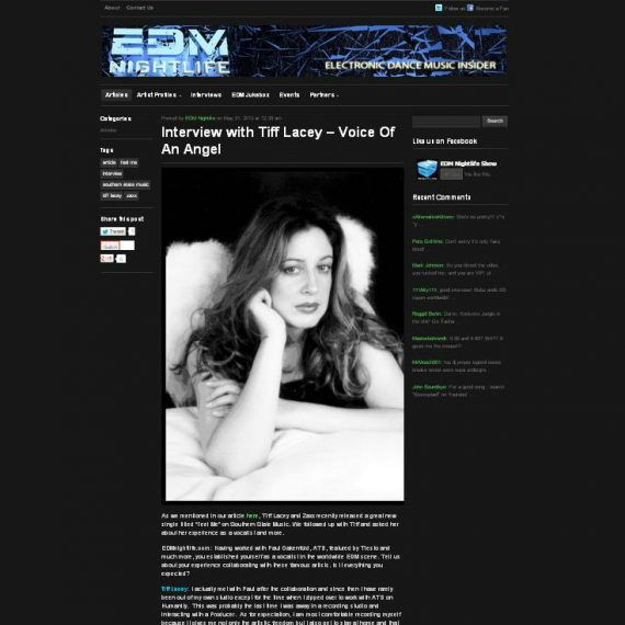EDM NIGHTLIFE interviews TIFF LACEY