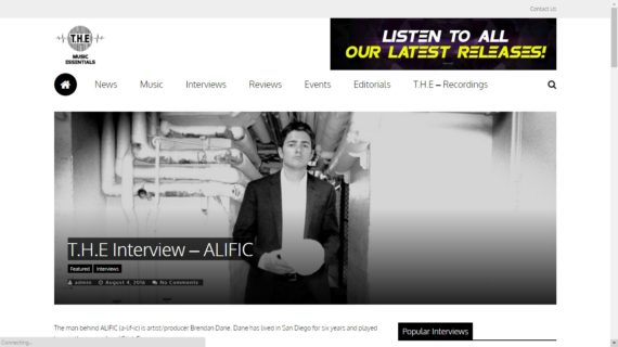 Alific interview featured on The Music Essentials