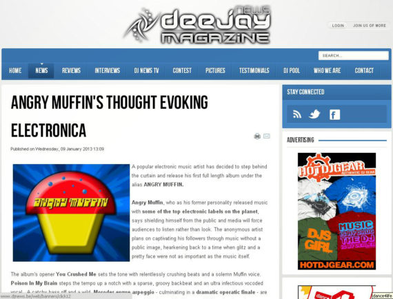 Angry Muffin featured on DJ News