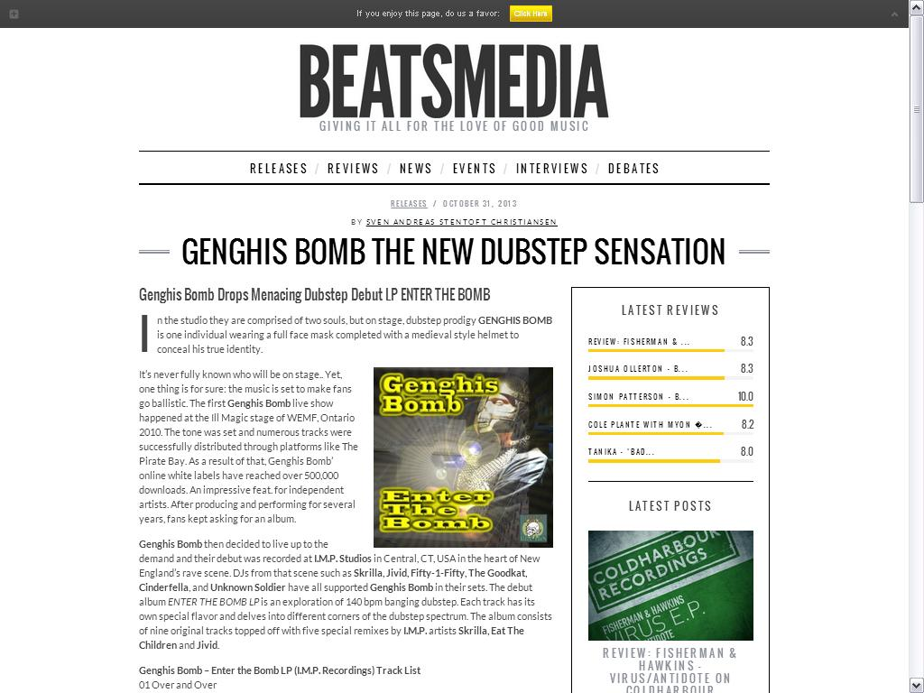 Genghis Bomb feature
